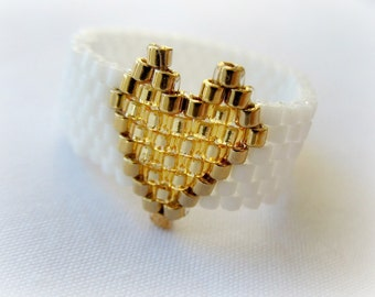 White Ring With Gold Heart. Bead woven Ring. Seed Bead Ring. Gift Under 20.