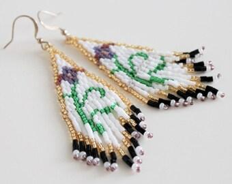Iris flower dangle drop beaded fringe bead woven earrings. Flower motif chandelier earrings.
