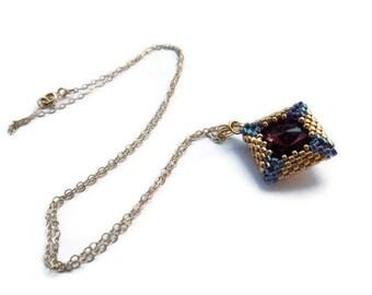 Swarovski  Amethyst  Rivoli  14K Gold Filled  Necklace.  Beadwoven  Necklace. Amethyst  And Goldfilled  Necklace.