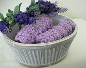 Eco Friendly Handmade Cotton Wash or Dishcloths - set of 2 -  Lavender Scented
