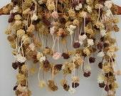 "SALE  - Pom - Pom loopy Hand crochet scarf Neck warmer in brown "" Parairie """