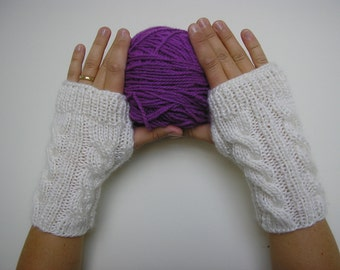 Wool Blend Hand knitted FINGERLESS GLOVES cable knit , wrist warmers, arm warmers in White, one size fits all