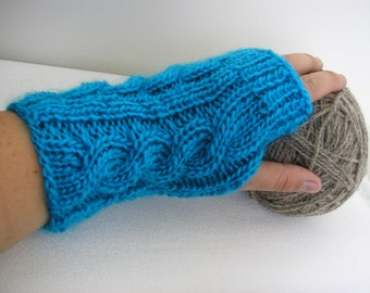 Wool Blend Hand knitted FINGERLESS GLOVES cable knit , wrist warmers, arm warmers in Turquoise Blue, one size fits all - Free Shipping Etsy