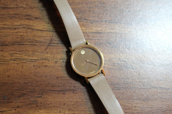 Vintage Movado Ladies Wind Up Zenith Gold With Grey Strap And Dial