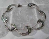 Mexican Silver and Abalone Vintage Bracelet