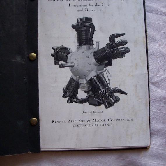 vintage Kinner K-5 Aircraft Engine manual