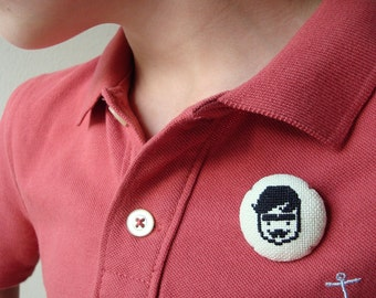 Mister Hola button | Contemporary cross stitch | Wearable art