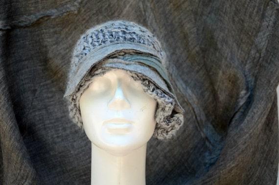 SALE 5 % hand knited asymmetric retro cloche, melange soft wool and acrilic yarn, different grays felt, ash silver ooak beanie woman hat,