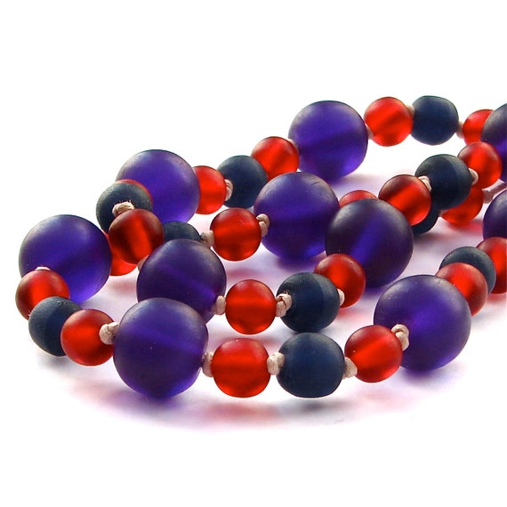 Resin Nursing Necklace  -  Summer Pudding - Deep Royal Purple, Red and Navy Blue Chunky Resin Necklace