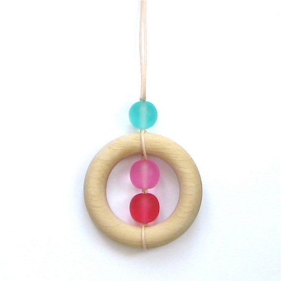 Wooden Teething Nursing Necklace/ Resin Breastfeeding Necklace - Non Toxic Twiddly Teether Pendant - Magenta, Pink and Aqua