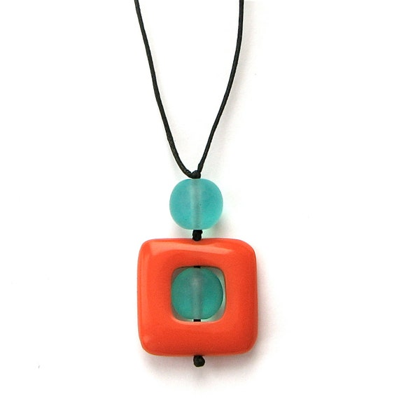 Nursing Necklace - Non Toxic Chunky Resin Babywearing/Breastfeeding Necklace - Square 'Twiddle Buster' Pendant - Orange and Aqua/ Turquoise