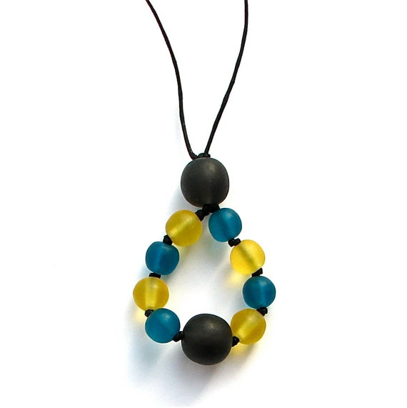 Resin Nursing Necklace  - Teardrop Pendant - Monkey Mama - Grey/ Gray, Teal and Yellow