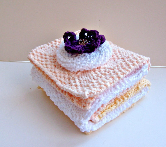 Knitted Wash Cloths and Facial Scrubby