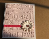 Embossed Birthday Card- Pink with Polka Dot Flower