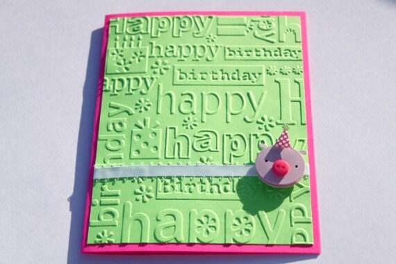 Pig Birthday Card- Embossed, Green, Pink