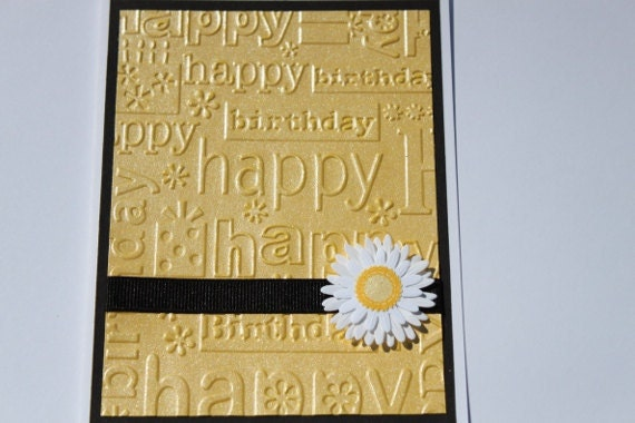 Daisy Birthday Card- Embossed, White, Black,Yellow