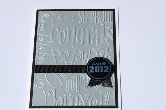 Graduation Card- Class of 2012, Embossed, Silver, Black