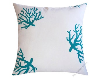 White / Turquoise Blue Coral Decorative Throw Pillow Cover / Pillow Case / Cushion Cover / Cotton / 18x18""