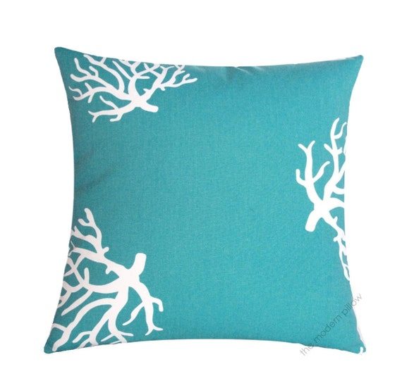 18 turquoise coral decorative throw pillow by themodernpillow