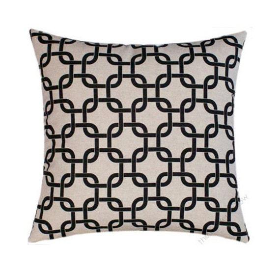 Black And Beige Decorative Pillows : Black and Beige Oatmeal Link Decorative Throw Pillow Cover