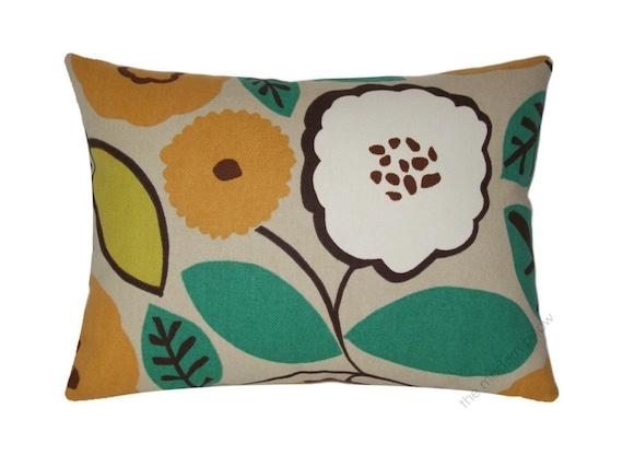 "Orange Pumpkin Bloom Decorative Throw Pillow Cover / Pillow Case / Cushion Cover (Orange/Citron/Brown/Green/Ivory) Cotton / 12x16"""