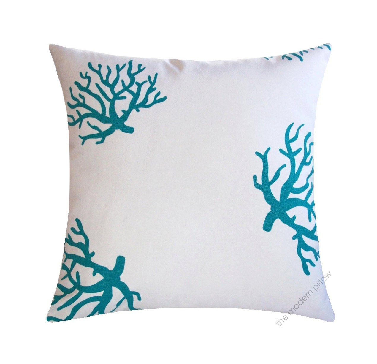White / Turquoise Blue Coral Decorative Throw Pillow Cover