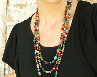 Multi Color Necklace. Multi Semi Precious Stone Necklace. Three Strand Graduated Long Necklace. Colorful Long Necklace. Colorful Jewelry