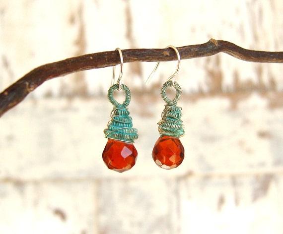 Brandy Faceted Glass Earrings, Sterling Silver Verdigris Wire Wrapped Dangle Earrings