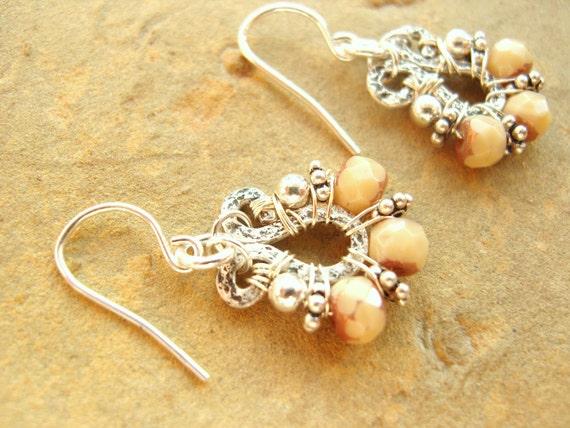 Cream & Copper Earrings, Bali Sterling Silver, Czech Glass, Hammered Sterling Silver, Dangle Earrings