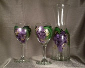 Wne Serving Set Hand Painted Grape and Gold Carafe and Globe Wine Glasses