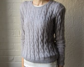 Italian cable knit sweater // 80s lavender pullover sweater