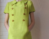 60s dress // vintage chartreuse boucle dress // Vera Maxwell
