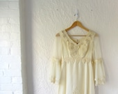 1970s wedding dress // bohemian cream dress // 70s empire waist wedding dress