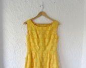 Yellow prom dress . 60s bridesmaid dress . long sleeveless dress