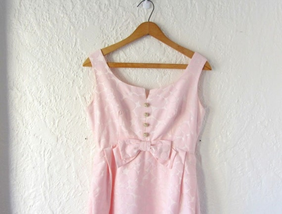 1960s prom dress . 60s pink party dress . empire waist dress . small