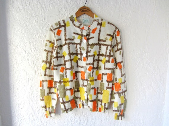 60s cardigan // geometric print // 1960s atomic sweater