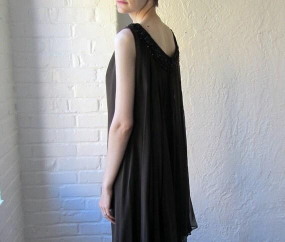 Silk chiffon dress . beaded trapeze dress . 1960s cocktail dress
