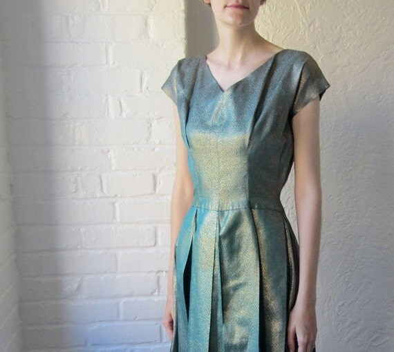 RESERVED // DO NOT purchase // 50s metallic turquoise dress // 1950s teal and gold dress // party dress