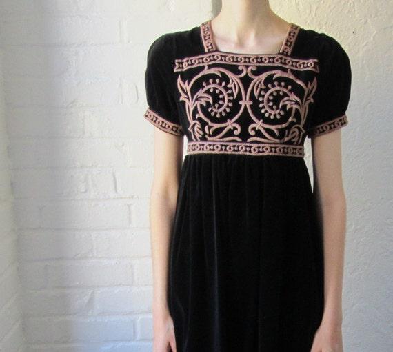 Velvet dress . embroidered dress . 60s 70s . long black dress