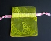 Mini Yellow/Pink Butterfly Drawstring with felt