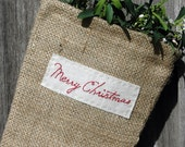 French Scandinavian Burlap Red Hand Embroidered 'Merry Christmas'  Christmas Stocking