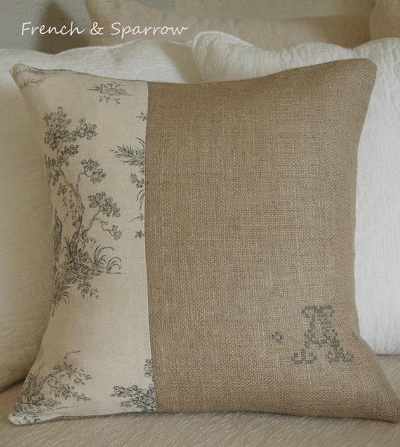 Linen Monogram Throw Pillow: Items Similar To Burlap & Linen Toile Cushion Cover