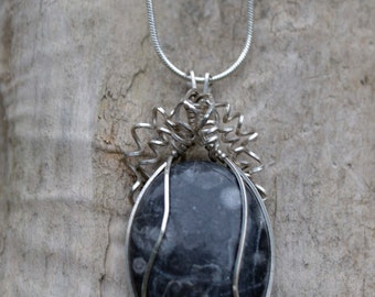 Bullseye Jasper Pendant Wire Wrapped in Sterling Silver