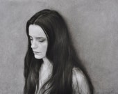 Charcoal drawing of woman. Raven. Raven-haired woman. Original charcoal drawing. One-of-a-kind charcoal drawing. Black and white drawing.