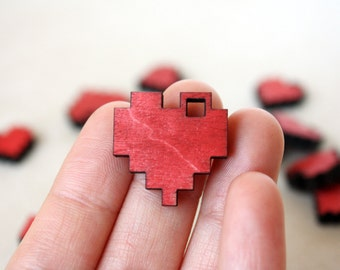 "Red Pixel Heart Necklace, Geek Gamer Jewelry in Birch Wood, ""I Love You in Pixels"""