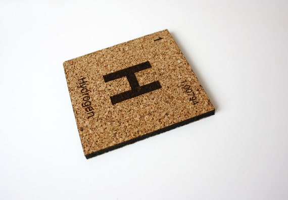 Hydrogen Coasters from the Periodic Table, Set of 5 in Cork