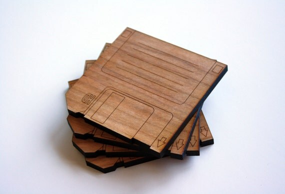 Floppy Disk, Diskette Coasters, Set of 4 in Cherry Wood