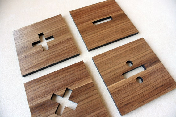Basic Math Signs Coasters, Set of 4 in Walnut Wood