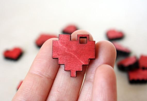 "Red Pixel Heart Necklace, Geek Gamer Jewelry in Birch Wood, ""I Love You in Pixels"""