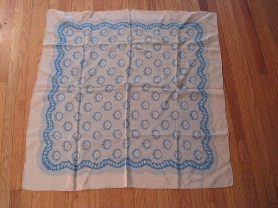 Givenchy Signed Silk Scarf Givenchy Nouvelle Boutique 30 Inches Square Off White and Aqua